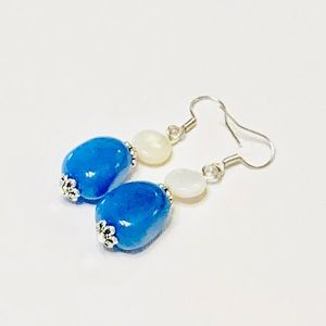 BLUE BAYOU Jadeite Stone & Cream MOP Earrings